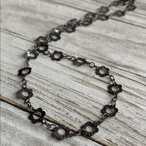 Oxidized Sterling Silver Flower Choker Necklace